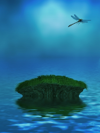 Beautiful ocean background with a dragonfly