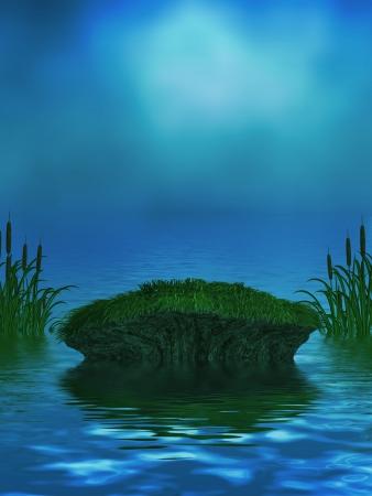 Beautiful ocean background with mossy rock and cattails Zdjęcie Seryjne