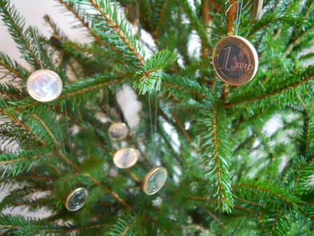 achievment: christmas tree and coins Stock Photo