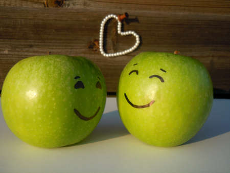 two green apples in love photo