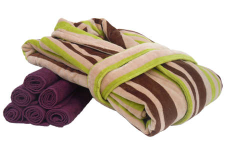 bathrobe: bathrobe and towels