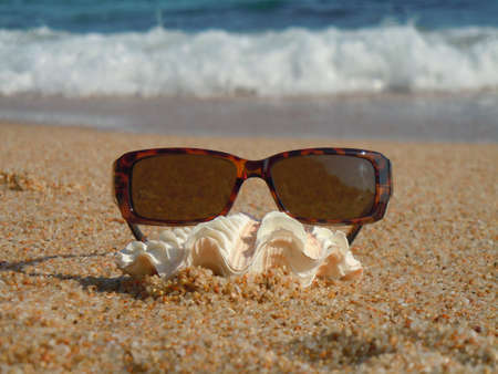 women s health: sunglasses, seashell and beach