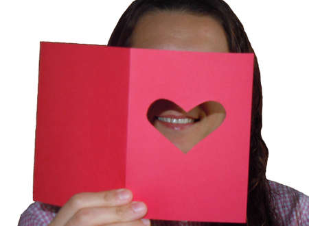 woman reading Valentines card Stock Photo - 14206573