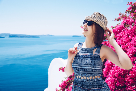 Beautiful summer girl tourist  Summer fun Travel concept Stock Photo