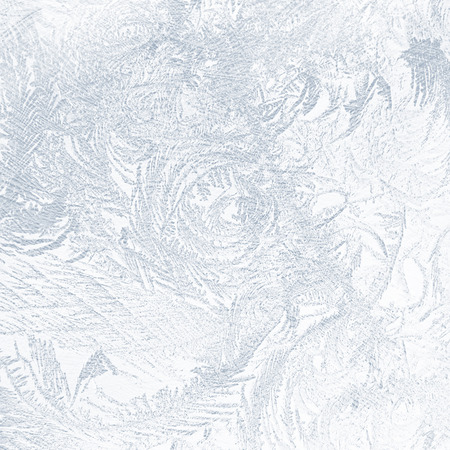 frosted window: blue abstract background frost on the glass texture Stock Photo