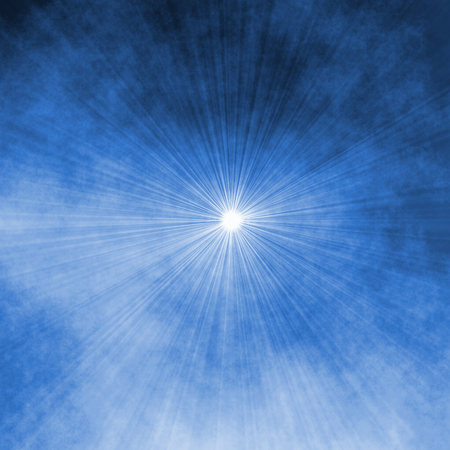 lighten: blue abstract background - sky and rays of light spot, mystic illustration
