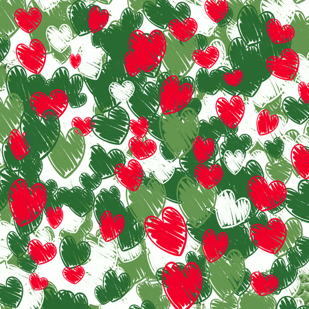hearts pattern - cartoon hand drawn background