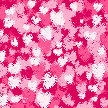pink hearts pattern - cartoon hand drawn background