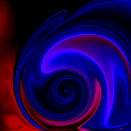 abstract squiggles, cloth or liquid waves, red and blue modern background Stock Photo