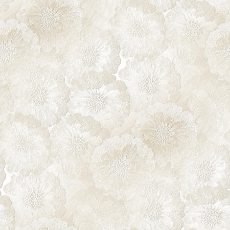 small articles: white gypsum board with flower motif - seamless wedding pattern Stock Photo