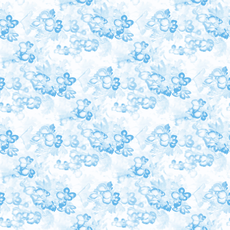 Blue seamless pattern - flowers