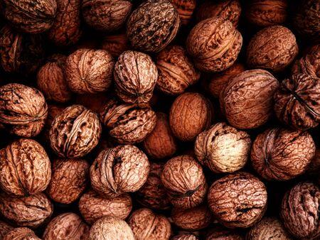 walnuts in shell - top view Reklamní fotografie
