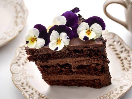 Chocolate birthday cake with pansies