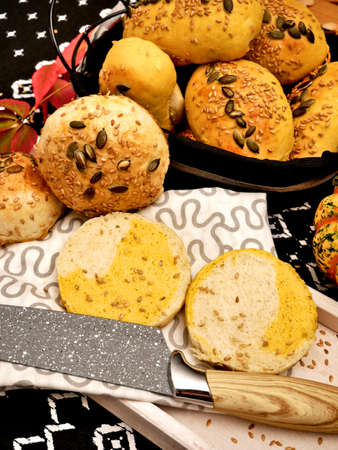 Easily digestible and delicate rolls with baked pumpkin pulp and seeds.