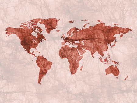 Old watercolor styled world map. Natural earth tones.