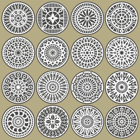 tallado en madera: Decoraciones ornamentales círculos