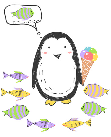 Funny penguin in Antarctica keeps ice cream and thinks about fish. Illustration about animals for children design. Cartoon style