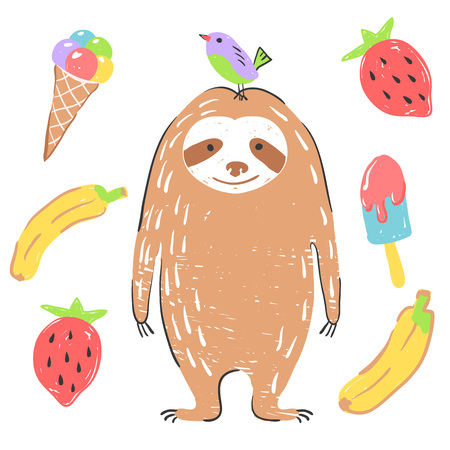 Funny sloth with bird, banana, ice cream and strawberry. Illustration about animals for children design. Cartoon style.