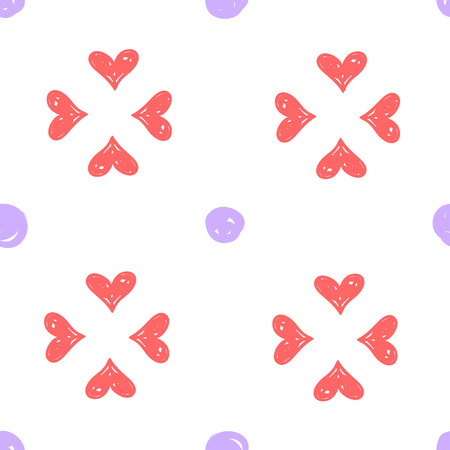Simple handdrawn seamless pattern with pink heard and purple dots. For wallpapers, web background, textile, wrapping, fabric, kids design.