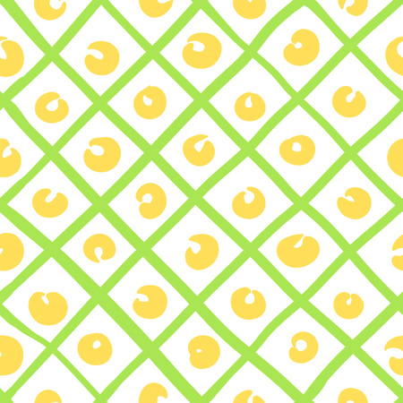 Geometric simple sketh drawn hand seamless pattern with bright yellow dots and green triangles. For wallpapers, web background, textile, wrapping, fabric, kids design. Scandinavian style