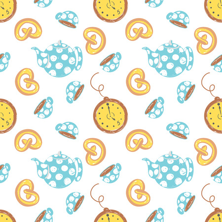 Tea time simple sketh drawn by hand seamless pattern in cartoon style with watch, cup, brezel, teapot, bakery. For wallpapers, web background, textile, wrapping, fabric, kids design.