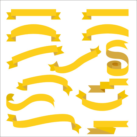 Set with yellow ribbons for topics. Empty golden ribbons collection for tags and titles. Illustration