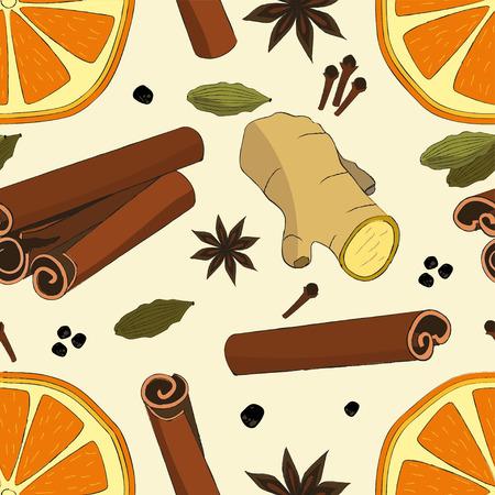 Motif harmonieux d'orange séchée, de gingembre, de cardamome, de clou de girofle, de cannelle et d'anis. Motif aux épices pour la décoration des fêtes de Noël. Modèle pour papier cadeau de décoration, invitation, cartes.