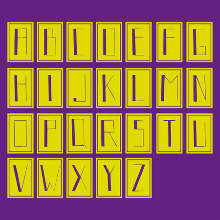 Alfabet, strong letters, isolated letters, green and purple colors