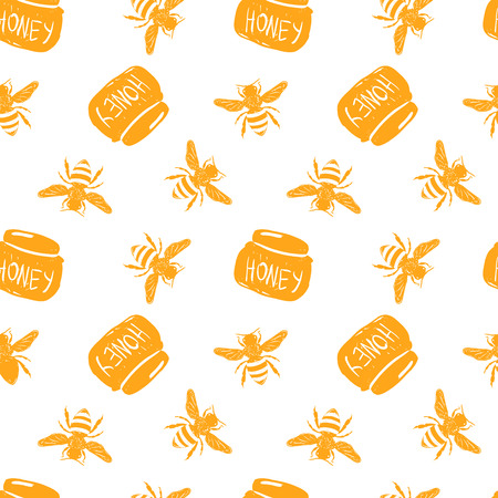 Honey simple sketh drawn by hand seamless pattern in cartoon style with bee, honey jar. For wallpapers, web background, textile, wrapping, fabric, baby design
