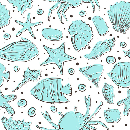 Seamless patterns with shell, starfish, fish, stone. Vector set for design in sea beach style. Blue exotic underwater Illustration