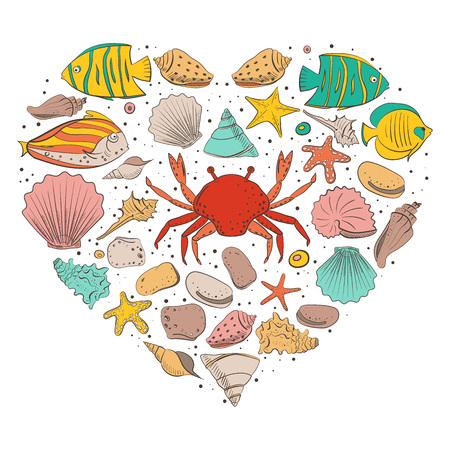 Heart form with shell, starfish, fish, stone. Vector set for design in sea beach style. Colored exotic shells and underwater animals Illustration