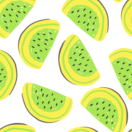 Watermelon and exotic fruits seamless pattern. Fresh yellow watermelons, tropical fruits summer detox.