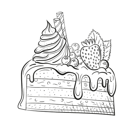 cake with berries, cream and mint. Sweet beautiful dessert. Clipart for a restaurant or cafe menu. Line art. Piece of cake with fresh berries. Sketch style.