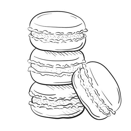 tortas de macarrones, ilustración vectorial aislado en el estilo de dibujo de fondo blanco. Merienda, pila de macarons. Clipart para un menú de restaurante o cafetería. Arte lineal. Ilustración de vector