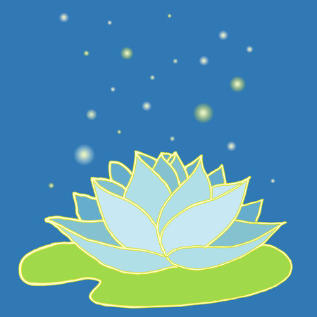 hand drawn lotus card for design, vector lotus, indian water lily flower with fairy bright