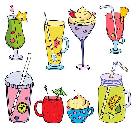 Buntes Cocktail-Set, lustige Cocktails mit Fruts und Beeren, tropische Cocktails, süße Sommercocktails, handgezeichnete Cocktails, Vektorgetränk zur Dekoration Vektorgrafik