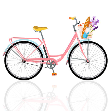 Detailed bicycle, romantic bike with flowers, bike for breakfast
