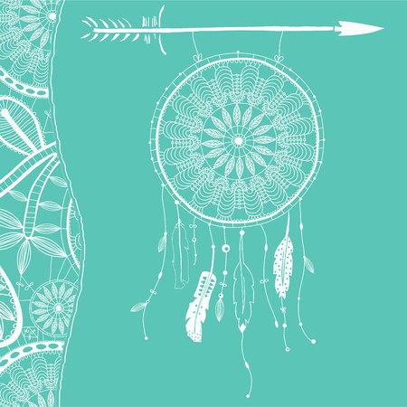 Hand drawn dreamcatcher with feathers and arrow. Vector hipster illustration isolated on white. Ethnic design, boho style, tribal symbol, white dreamhunter. Ilustração