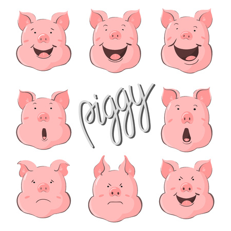 Pig vector character constructor of emotions. Portrait of a pig set. Piglet head with emotion. Cute piggy happy laughter, sad and angry. Zodiac symbol 2019. Illustration