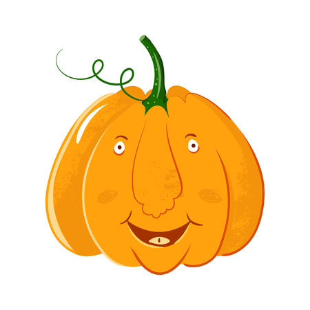 vector pumpkin head portrait with happy smile emotions for Halloween celebration. cute cartoon gourd laught isolated on white background.