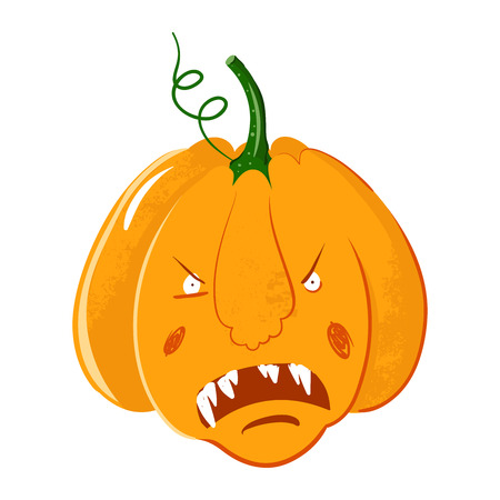 vector pumpkin head portrait with angry emotions for Halloween celebration. gourd screams.