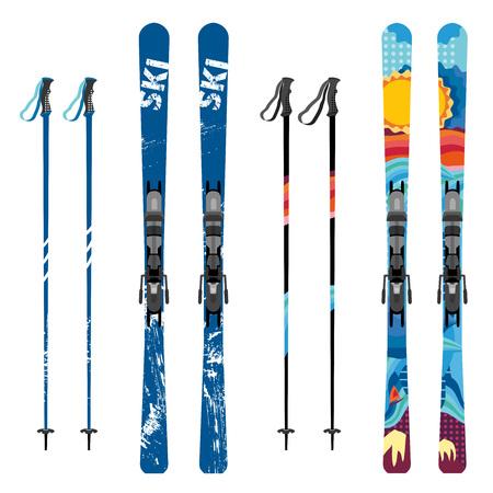 Vector mountain ski and sticks detailed on white background. Mountain skis and sticks sport equipment.
