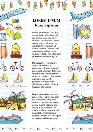 Werbeplakat der Touristenfirma, Flyer, Banner, Informationen der Tourismusbranche, Grafikdesign enthalten Reisebilder und -ikonen