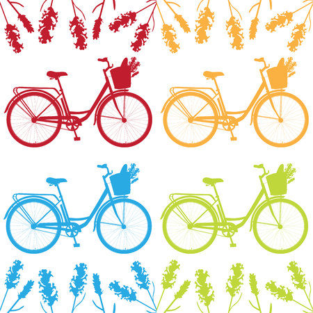 Realistic bicycle, romantic bike with flowers, bike for breakfast, vector bike for design with lavender