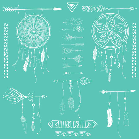 Hand drawn dreamcatcher with feathers and arrow. Vector hipster illustration isolated on white. Ethnic design and boho style illustration