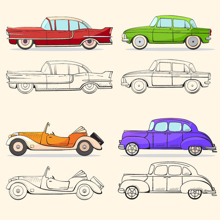 Collection with retro car in cartoon style. Color and black outline retro auto. Classic car drawn set. Ilustração