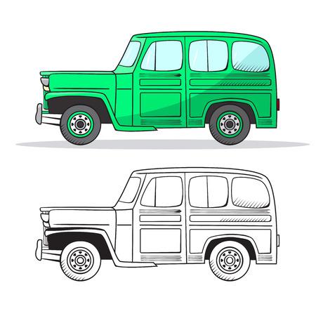 Retro car in cartoon style. Color and black outline retro auto. Classic car hand drawn set. Green car.