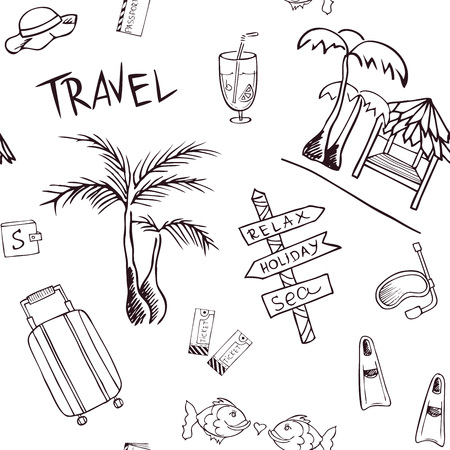 Travel pattern with trip attributes on transparent background. Background with tourist attributes for design flyers, web, cards, invitations, letters, advertising.