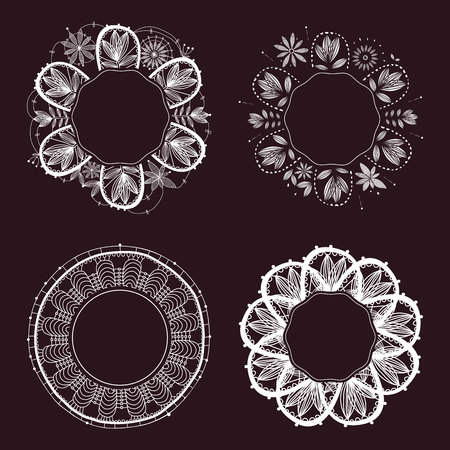 Lace frame in boho style, monochrome lace frame, hand drawn white lace, rustic decorative frame