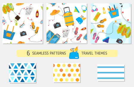 Seamless pattern with travel items including suitcase, plane, cruise liner, map, pattern with suitcase set, pack suitcase pattern, necessary items for traveling, travel stuff collection